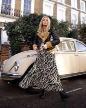 skirt,midi skirt,zebra,black boots,ankle boots,aviator jacket,black jacket,cardigan,bag