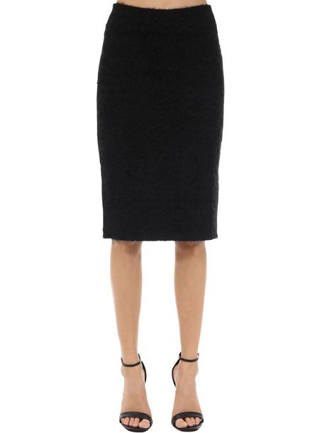 VERSACE Mohair Blend Knit Pencil Skirt in black