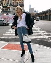 jacket,blakc jacket,black leather jacket,shearling jacket,black boots,ankle boots,high waisted jeans,white bag,chanel bag,white shirt