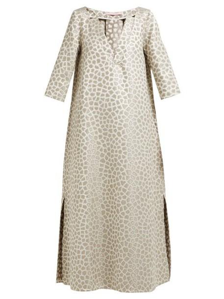 Marta Ferri - Animal Jacquard Midi Dress - Womens - Gold