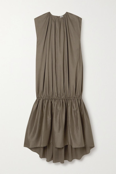 Totême - Pretoria Gathered Lyocell And Cotton-blend Voile Maxi Dress - Army green