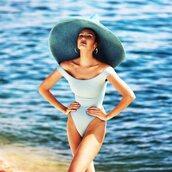 swimwear,candice swanepoel,model,one piece swimsuit,light blue