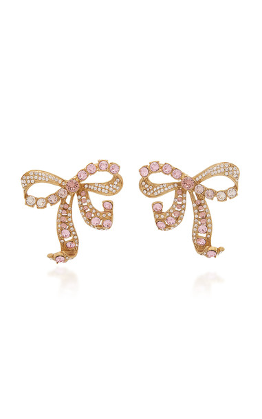Dolce & Gabbana Bow-Embellished Brass Stud Earrings in gold