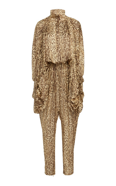 Zimmermann Printed Silk-Chiffon Jumpsuit in brown