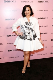 dress,demi lovato,celebrity,shirt,shirt dress,white dress,plus size,curvy