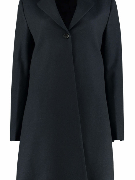 Salvatore Ferragamo Wool Coat With Velvet Inserts in blue