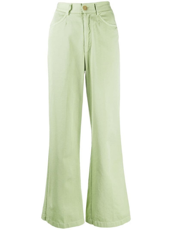 Forte Forte wide-leg cropped trousers in green