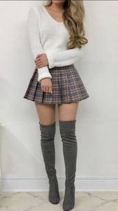 shoes,grey knee high boots