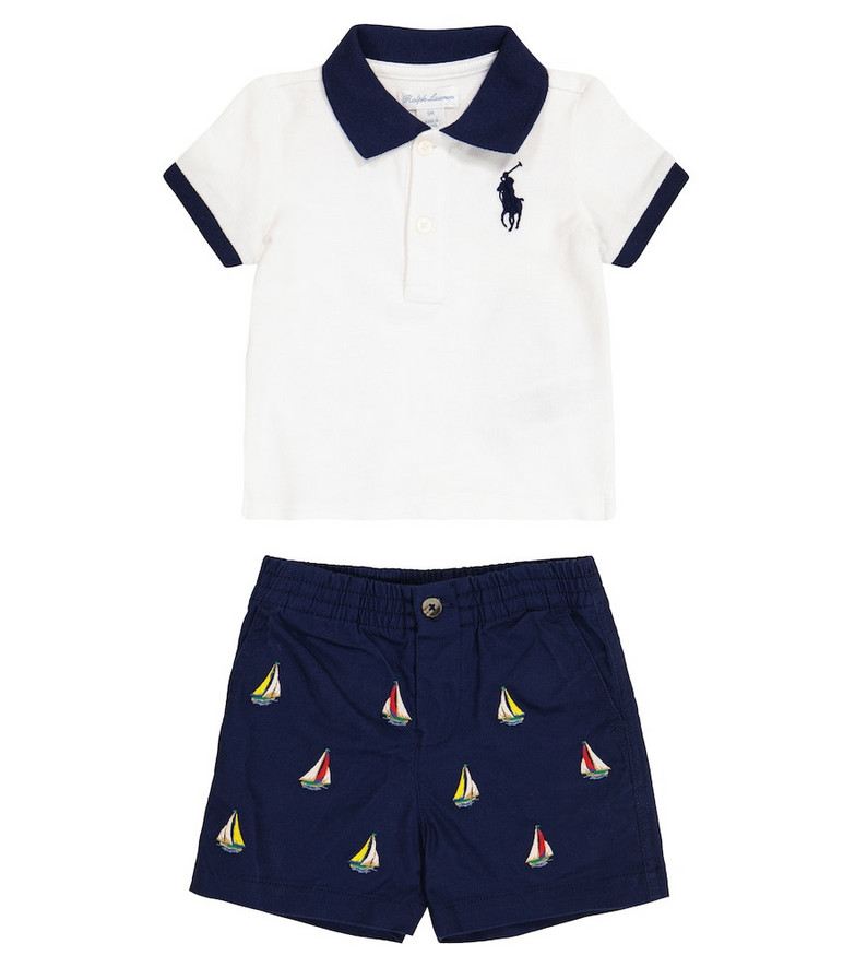 Polo Ralph Lauren Kids Baby stretch-cotton polo shirt and sorts set in blue