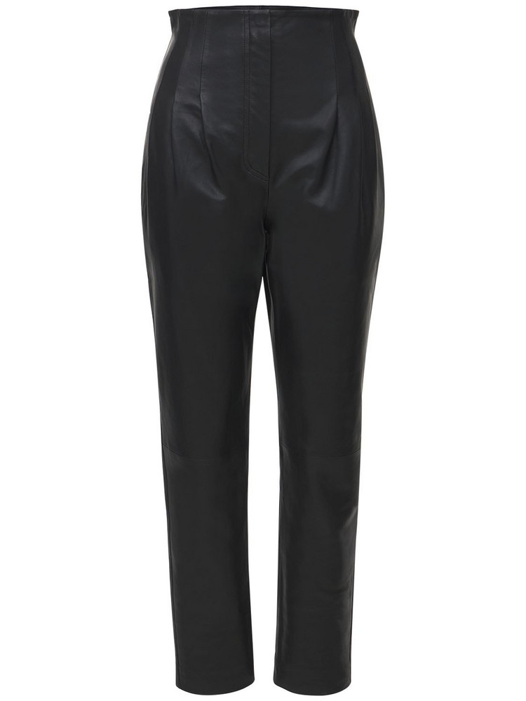 ALBERTA FERRETTI High Waist Leather Pants in black