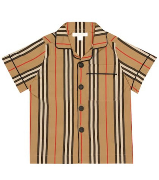 Burberry Kids Icon Stripe cotton shirt in beige