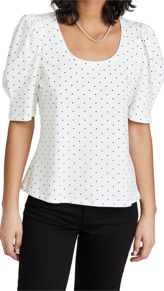 ENGLISH FACTORY Dotted Puff Sleeve Knit Top in black / white