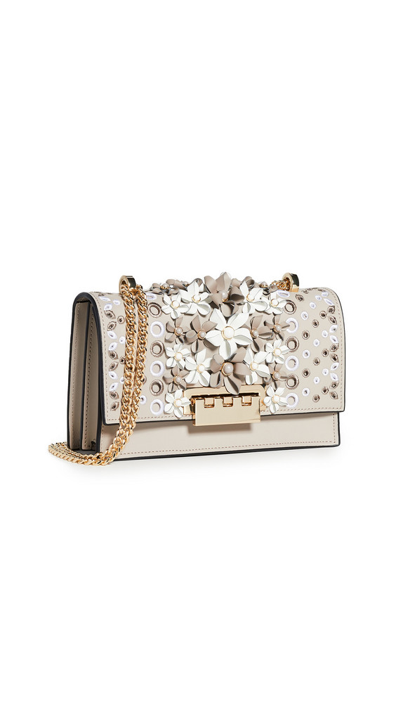 ZAC Zac Posen Earthette Floral Applique Chain Shoulder Bag in stone