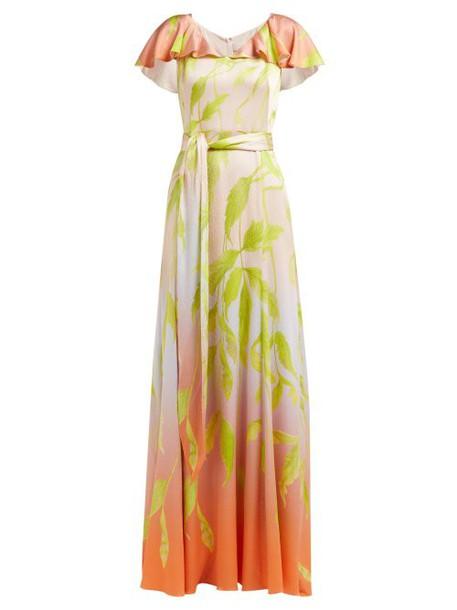Peter Pilotto - Leaf Print Silk Blend Cloqué Gown - Womens - Green Multi