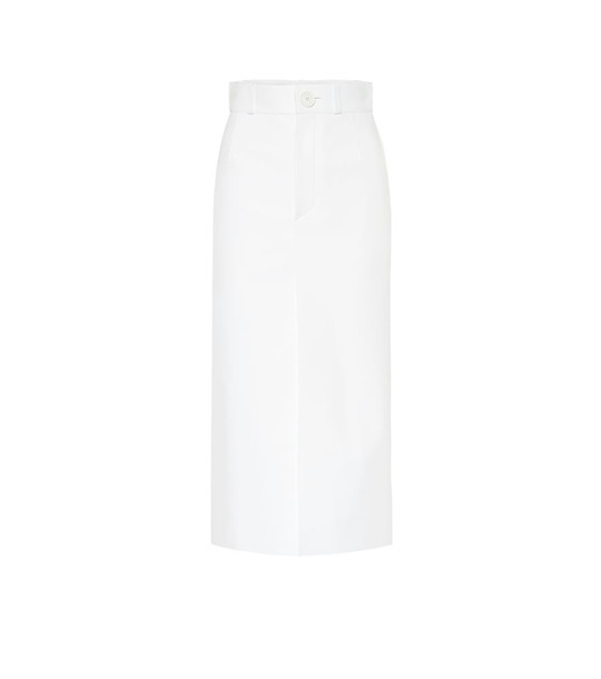 Balenciaga Leather midi skirt in white