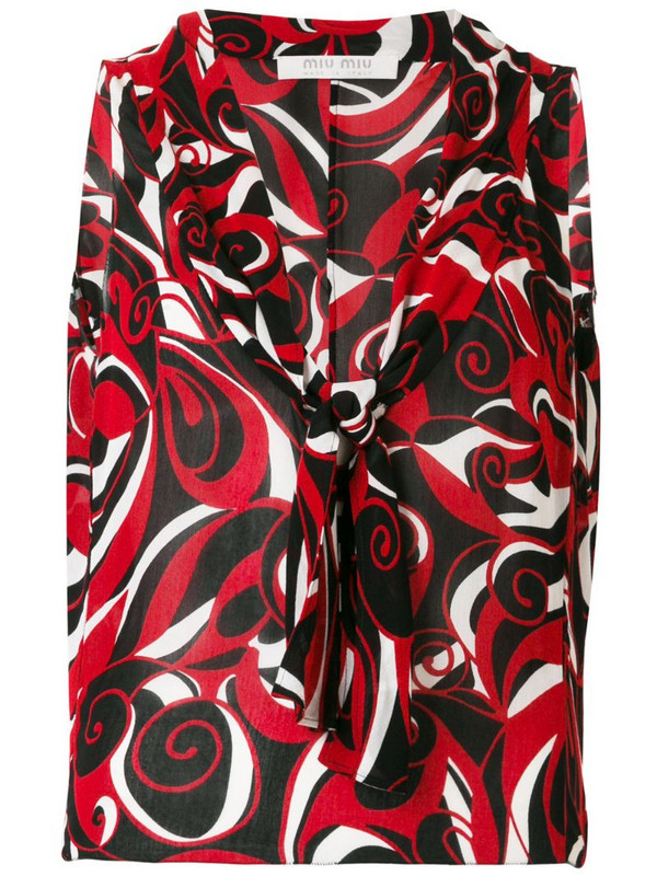 Miu Miu Pre-Owned abstract print sleeveless blouse in red