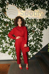 bag,red,all red,emmy rossum,celebrity,monochrome outfit,monochrome,shirt,pants