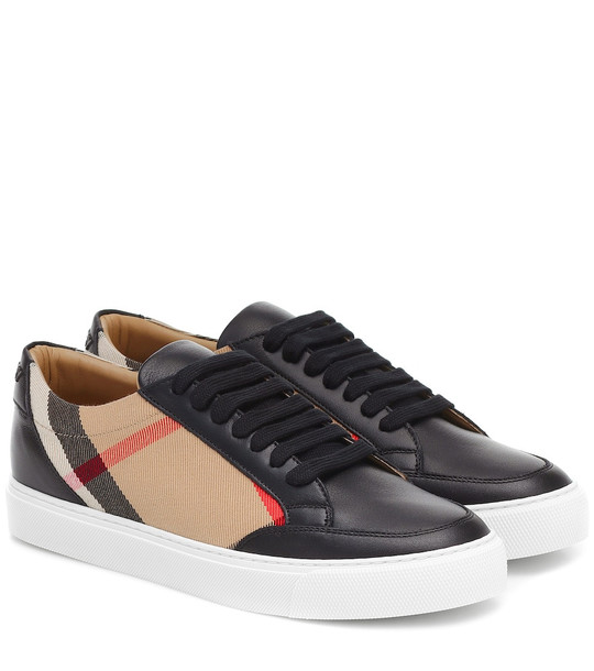 Burberry Salmond leather and cotton sneakers in black