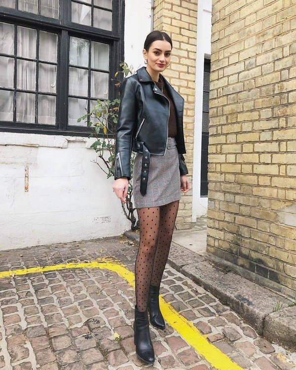 jacket black leather jacket black boots ankle boots heel boots tights mini skirt plaid skirt brown sweater