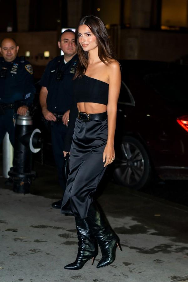 top asymmetrical asymmetrical top crop tops skirt midi skirt all black everything emily ratajkowski model off-duty fashion week