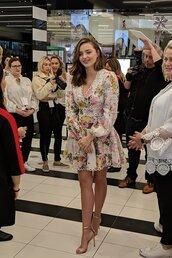 romper,floral,miranda kerr,celebrity,model,sandal heels,sandals