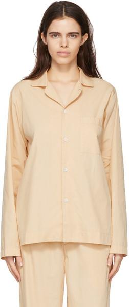 Tekla Beige Poplin Pyjama Shirt in khaki