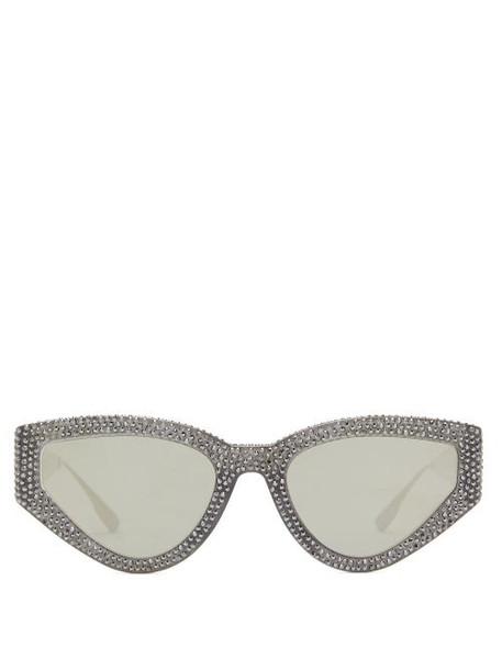 Dior Eyewear - Catstyledior1s Crystal-studded Cat-eye Sunglasses - Womens - Black