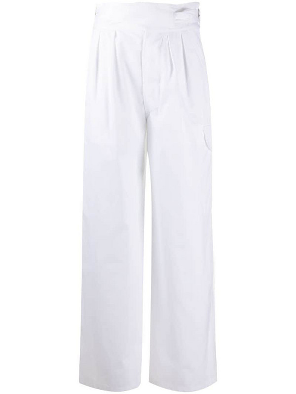 Jejia high-waisted cargo trousers in white