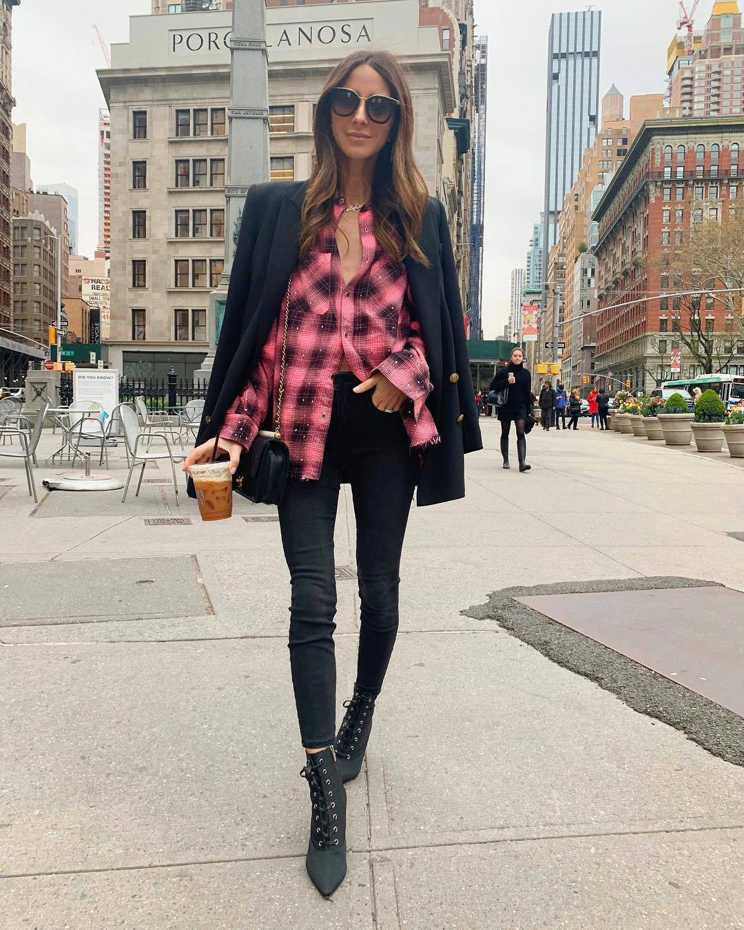 top plaid shirt pink shirt black skinny jeans black boots ankle boots black blazer double breasted black bag