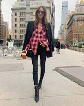 top,plaid shirt,pink shirt,black skinny jeans,black boots,ankle boots,black blazer,double breasted,black bag