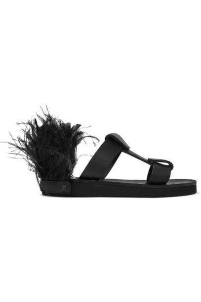 Valentino - Valentino Garavani Feather-embellished Leather Slides - Black
