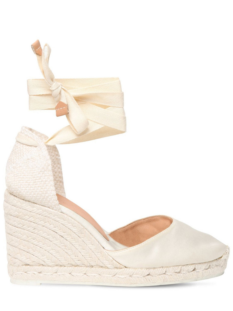 CASTAÑER 80mm Carina Satin Espadrille Wedges in white