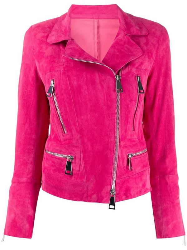 Sylvie Schimmel Metro cropped biker jacket in pink