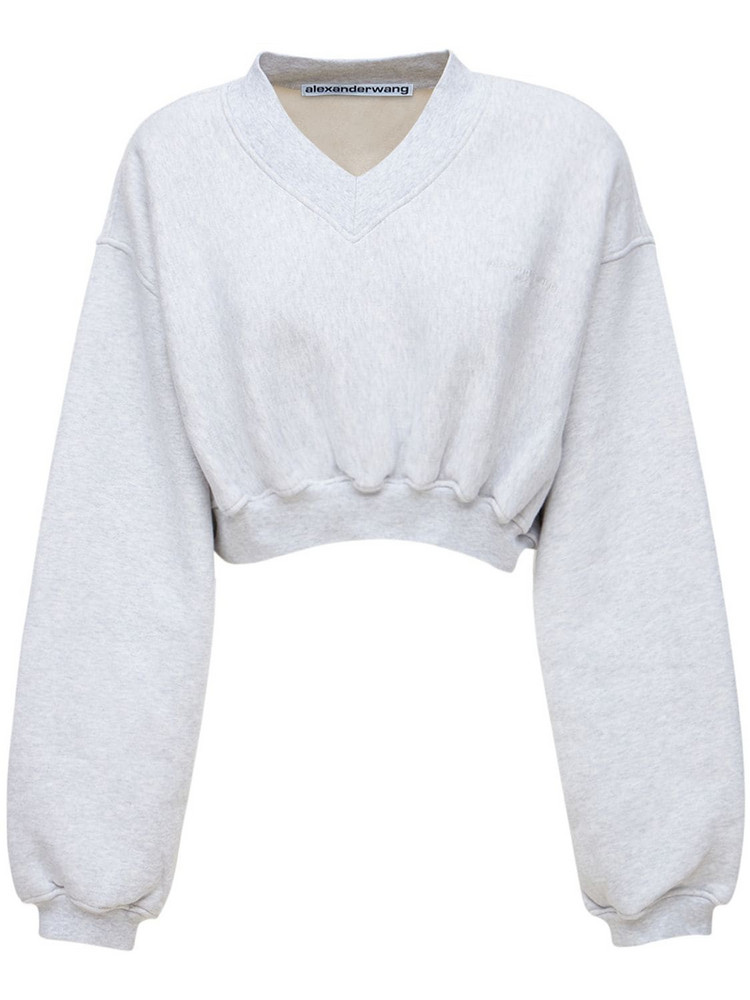 ALEXANDER WANG Logo V Neck Cropped Cotton Sweater in grey