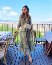 dress,shirt dress,maxi dress,long sleeve dress,flat sandals,crossbody bag