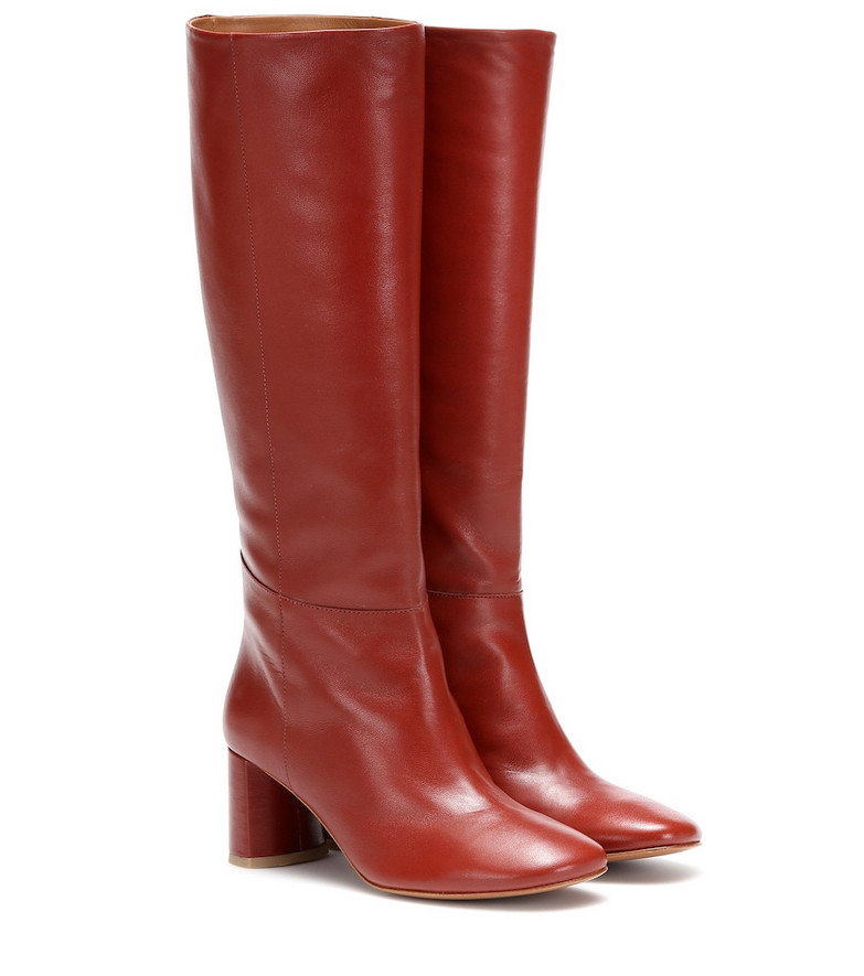 LOQ Donna knee-high leather boots in red