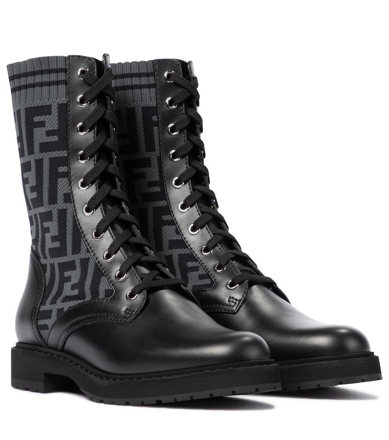 Fendi Rockoko FF leather-trimmed combat boots in black