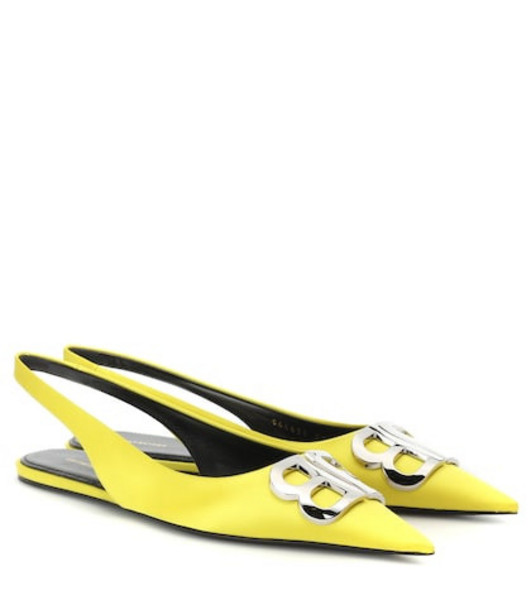 Balenciaga BB satin slingback flats in yellow