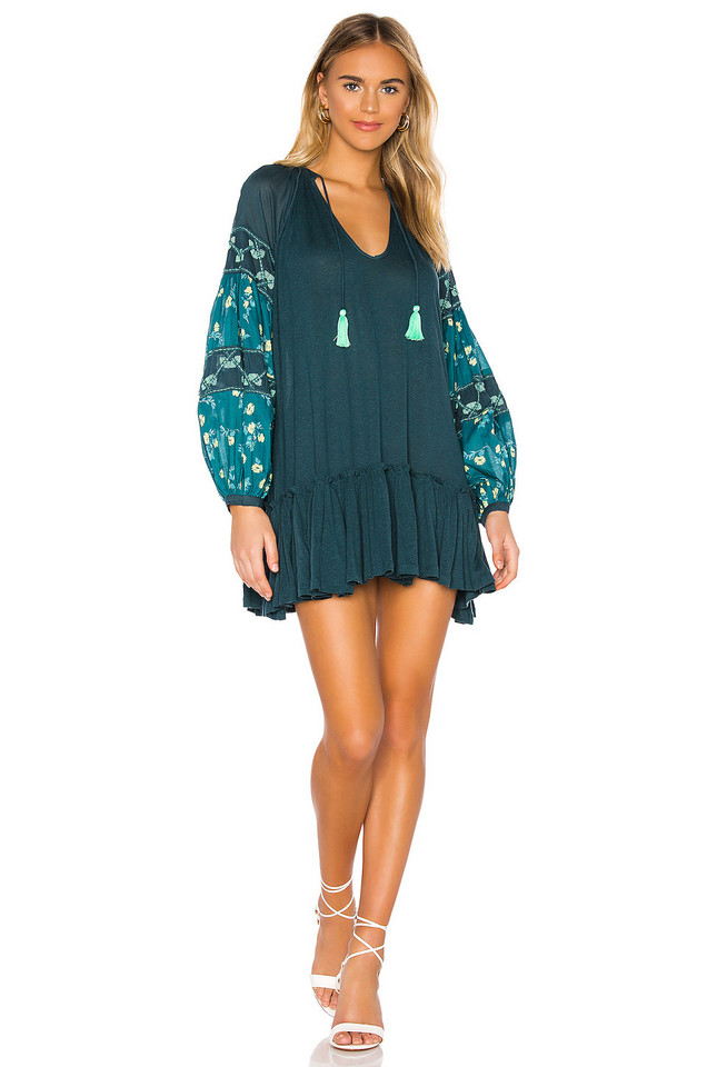 Free People Mix It Up Dress in teal
