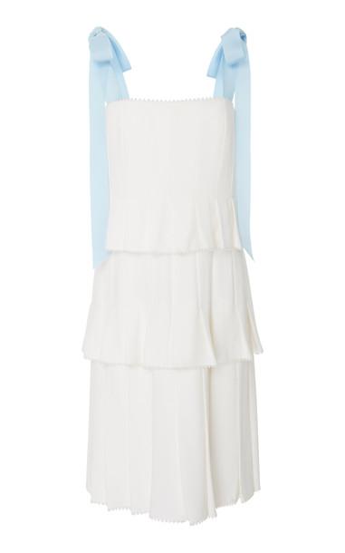 Carolina Herrera Hildie Pleated Dress in white