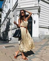 dress,midi dress,slippers,black bag