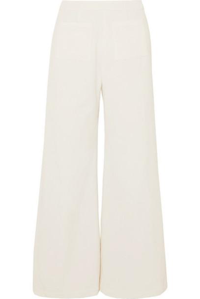 Faithfull The Brand - Tove Cropped Cotton-corduroy Wide-leg Pants - White