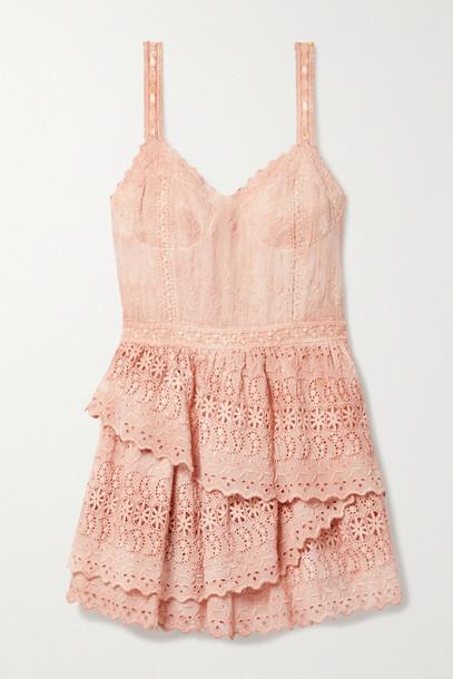 LoveShackFancy - Caro Tiered Broderie Anglaise Chiffon Mini Dress - Pink