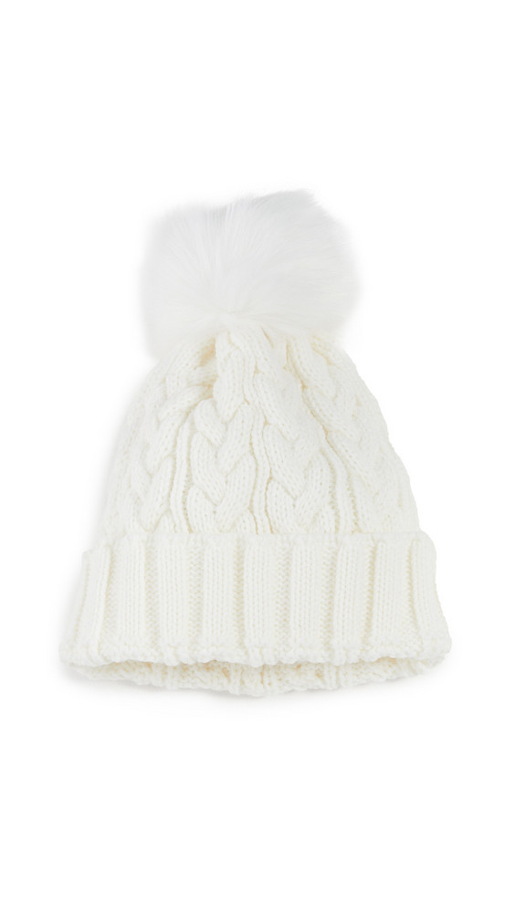 Adrienne Landau Cable Knit Beanie in white
