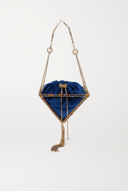 Rosantica - Vernita Tasseled Crystal-embellished Gold-tone And Velvet Tote - Blue