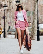 jacket,pink blazer,short,stella mccartney,white sneakers,white t-shirt,scarf