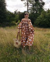 bag,woven bag,maxi dress,off the shoulder dress,polka dots