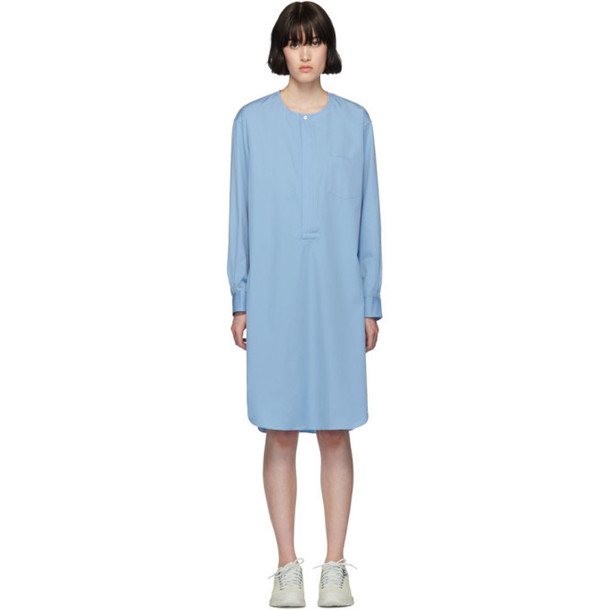 Comme des Garçons Shirt Blue Poplin Long Shirt Dress