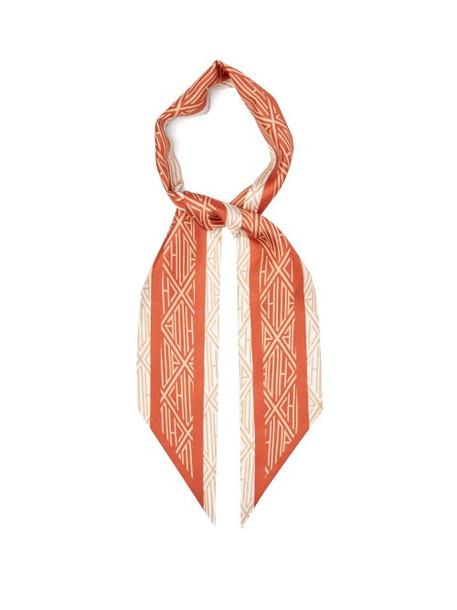 Chloé Chloé - Geometric-print Silk-twill Scarf - Womens - Orange