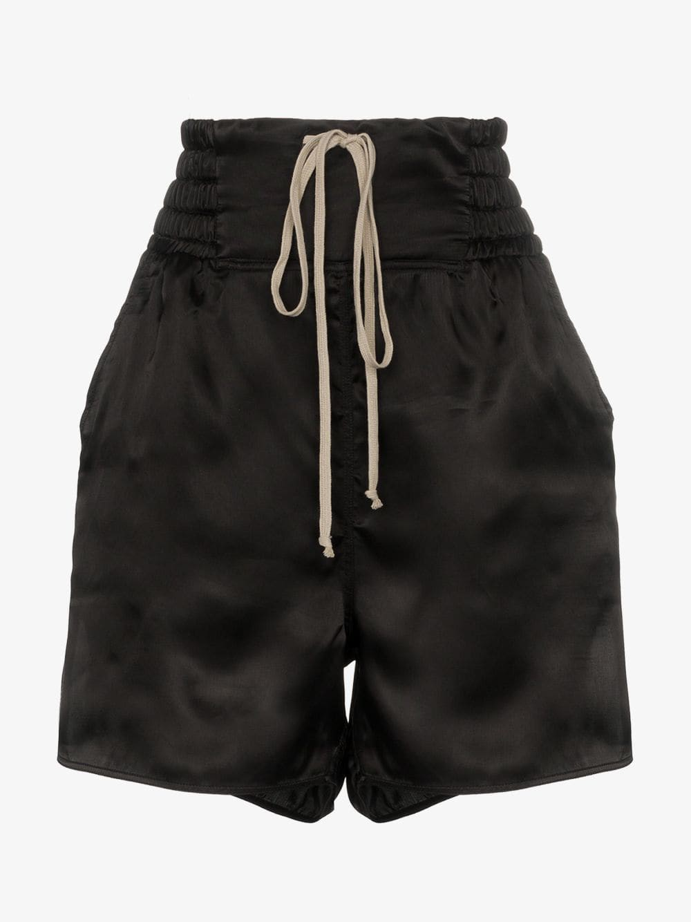 Rick Owens satin split side drawstring shorts in black